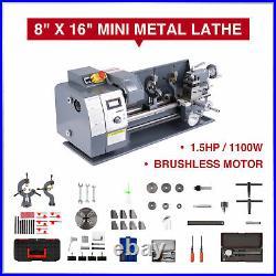 Upgraded 1.5HP 8 × 16 Mini Metal Lathe Metal Gear LCD Display 9 Tools 2 Chucks