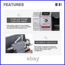 Upgraded 8.7 x 29.5 Mini Metal Lathe 1100W Metal Gear Digital Display 5 Tools