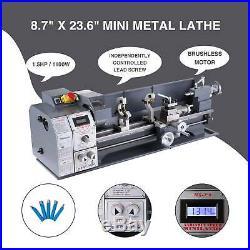 Upgraded 8.7x 23.6 Mini Metal Lathe 1100W Metal Gear Digital Display 5 Tools