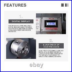 Upgraded 8.7x 23.6 Mini Metal Lathe 5 Tools 1100W Metal Gear Digital Display