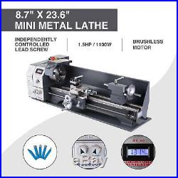 Upgraded 8.7x 23.6 Mini Metal Lathe Metal Gear Digital Display 5 Tools 1100W