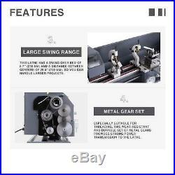 Upgraded Auto 1.5HP 8.7 × 29.5 Mini Metal Lathe Metal Gear 5 Turning Tools