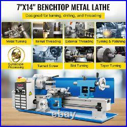 VEVOR Mini Metal Lathe 7x14 Metalworking Woodworking Gears Milling 2250RPM