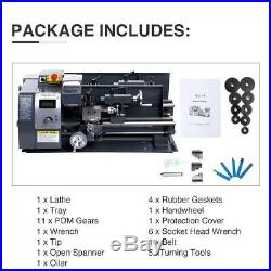 Variable-Speed Mini Metal Lathe 8x14 600W Woodworking Tools With5 Turning Tools